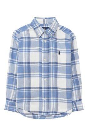 Детская хлопковая рубашка POLO RALPH LAUREN голубого цвета, арт. 323785811 | Фото 1 (Материал внешний: Хлопок; Рукава: Длинные; Случай: Повседневный)