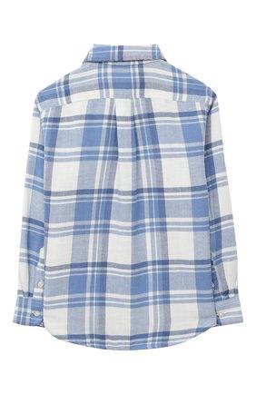 Детская хлопковая рубашка POLO RALPH LAUREN голубого цвета, арт. 323785811 | Фото 2 (Материал внешний: Хлопок; Рукава: Длинные; Случай: Повседневный)