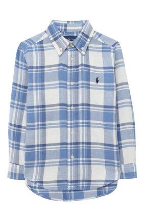 Детская хлопковая рубашка POLO RALPH LAUREN голубого цвета, арт. 322785811 | Фото 1 (Рукава: Длинные; Материал внешний: Хлопок; Случай: Повседневный)