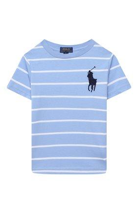 Детская хлопковая футболка POLO RALPH LAUREN голубого цвета, арт. 321786411 | Фото 1