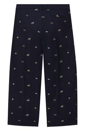 Детские хлопковые брюки GUCCI синего цвета, арт. 626210/XWAKM | Фото 2