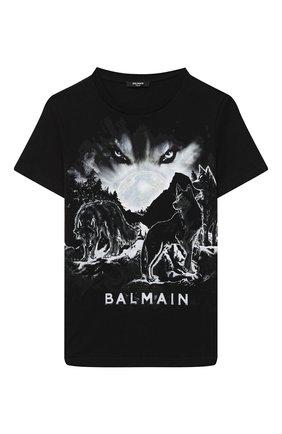 Детская хлопковая футболка BALMAIN черного цвета, арт. 6N8581/NX330/4-10 | Фото 1