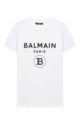 Детская хлопковая футболка BALMAIN белого цвета, арт. 6N8561/NX290/4-10 | Фото 1