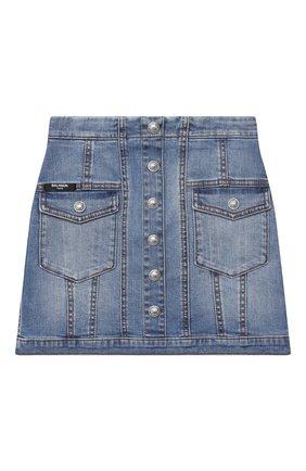 Детская джинсовая юбка BALMAIN голубого цвета, арт. 6N7040/NA320/4-10 | Фото 1