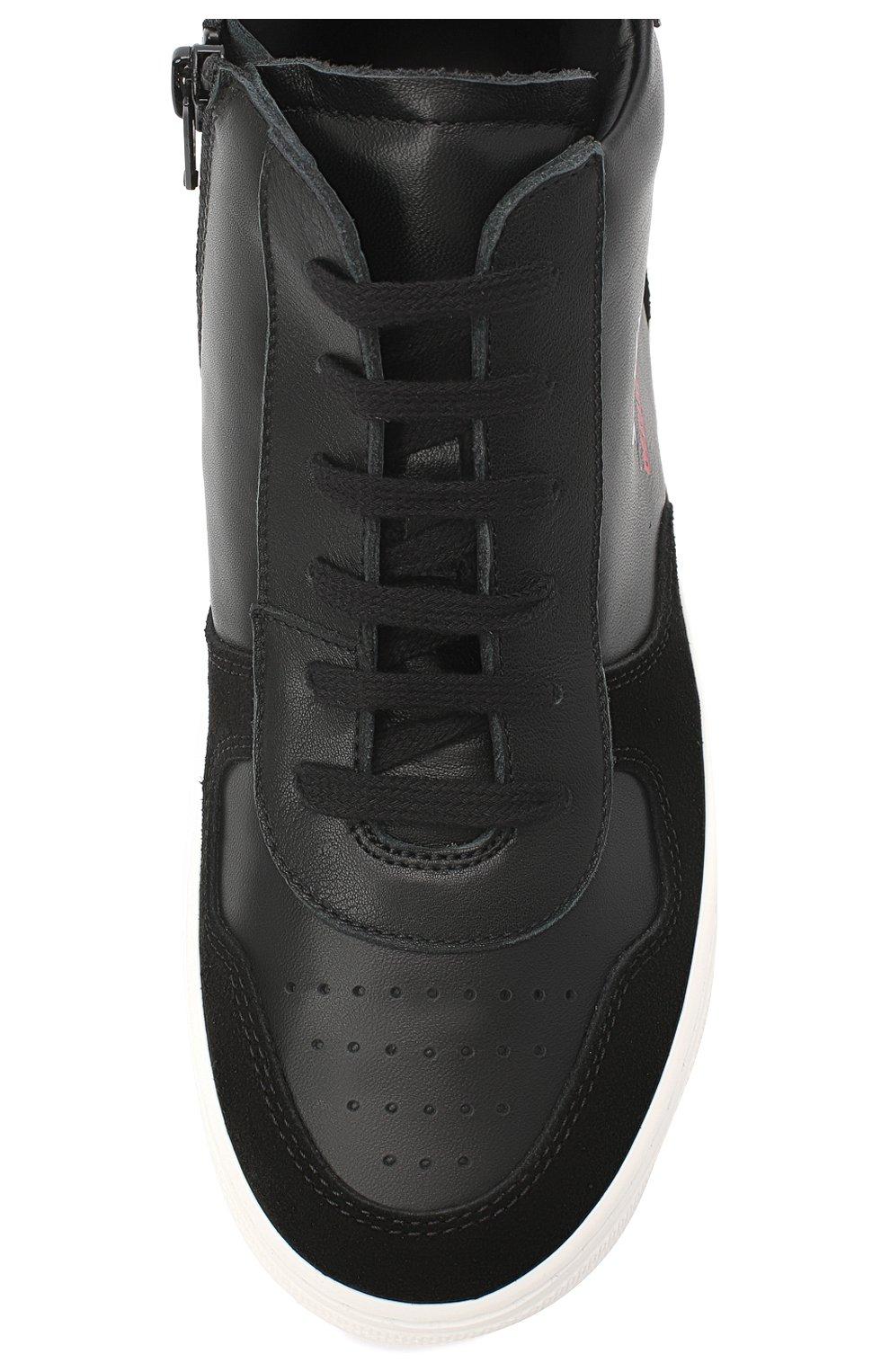 Детские высокие кожаные кеды DSQUARED2 черного цвета, арт. 64924/CR0STA/36-41   Фото 4