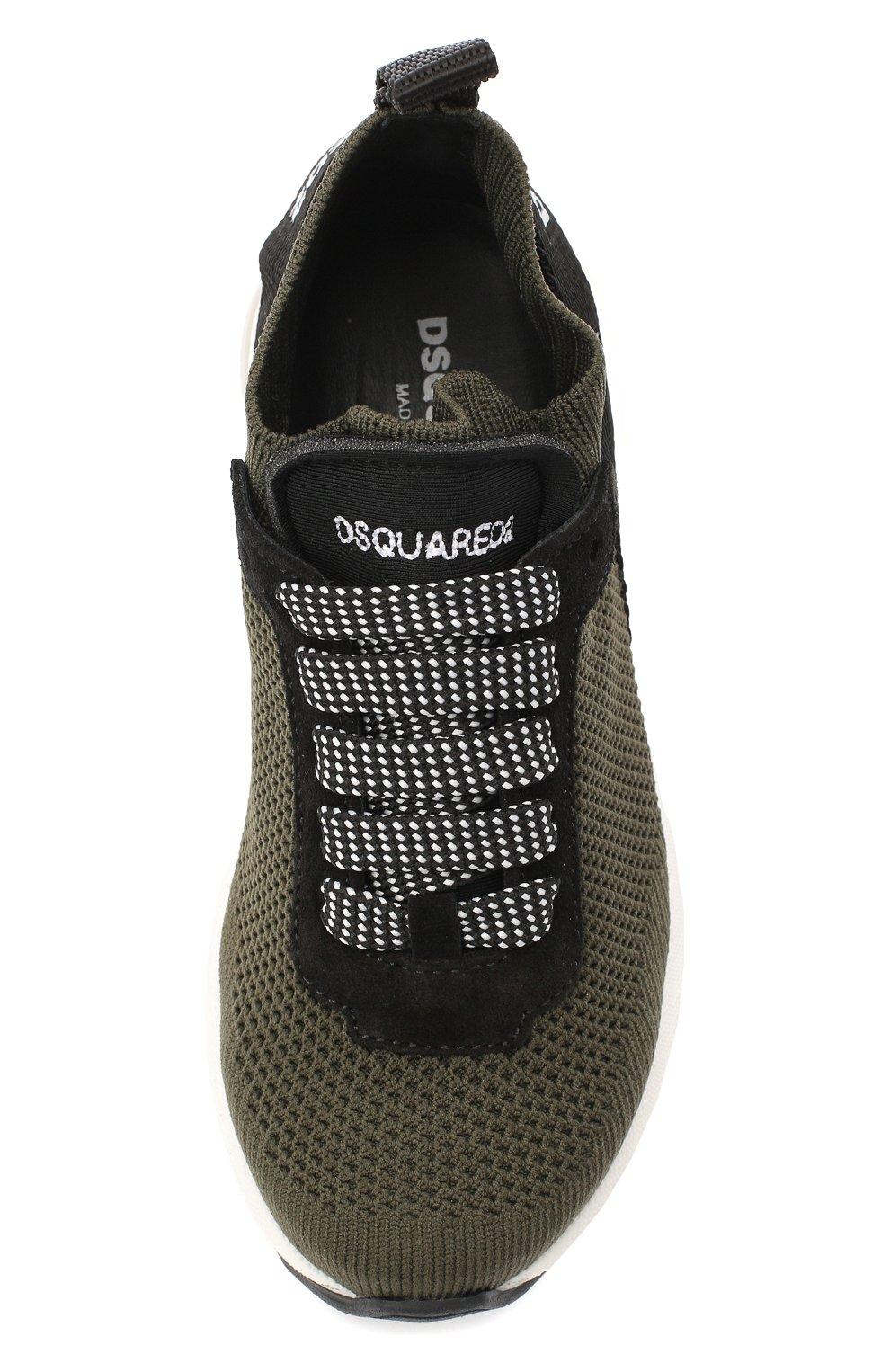 Детские текстильные кроссовки DSQUARED2 хаки цвета, арт. 65119/T0MAIA/18-27 | Фото 4