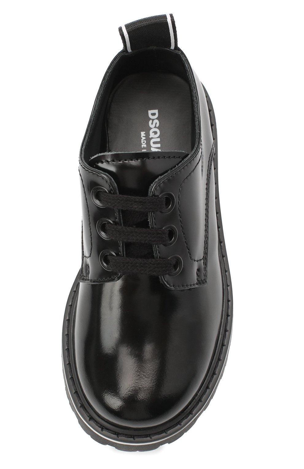 Детские кожаные дерби DSQUARED2 черного цвета, арт. 65181/LUX/18-27 | Фото 4