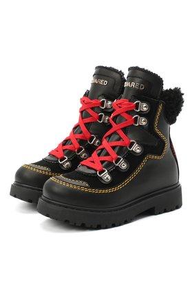 Детские кожаные ботинки DSQUARED2 черного цвета, арт. 65191/GAUCH0/18-27 | Фото 1