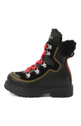Детские кожаные ботинки DSQUARED2 черного цвета, арт. 65191/GAUCH0/18-27 | Фото 2