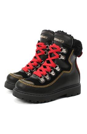 Детские кожаные ботинки DSQUARED2 черного цвета, арт. 65191/GAUCH0/28-35 | Фото 1