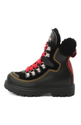 Детские кожаные ботинки DSQUARED2 черного цвета, арт. 65191/GAUCH0/28-35 | Фото 2