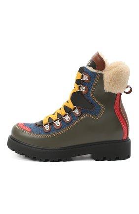 Детские кожаные ботинки DSQUARED2 хаки цвета, арт. 65191/S0FTY/36-41 | Фото 2