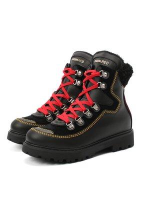 Детские кожаные ботинки DSQUARED2 черного цвета, арт. 65191/GAUCH0/36-41 | Фото 1