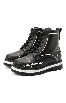 Детские кожаные ботинки DSQUARED2 черного цвета, арт. 65196/RUNNER/18-27 | Фото 1