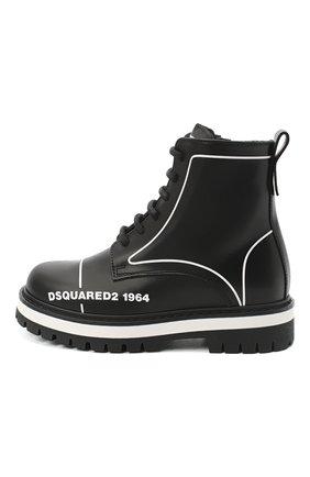 Детские кожаные ботинки DSQUARED2 черного цвета, арт. 65196/RUNNER/18-27 | Фото 2