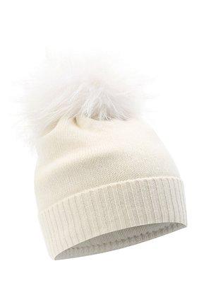 Детского шерстяная шапка с меховым помпоном IL TRENINO белого цвета, арт. 15 8637/LR | Фото 1