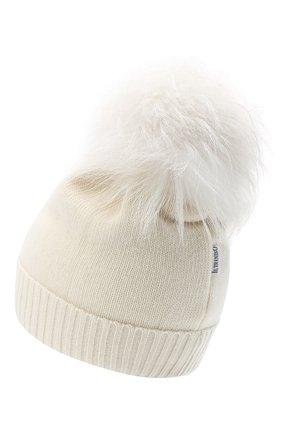 Детского шерстяная шапка с меховым помпоном IL TRENINO белого цвета, арт. 15 8637/LR | Фото 2