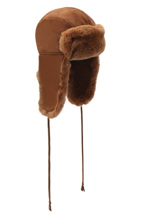 Детского шапка-ушанка с меховой отделкой IL TRENINO коричневого цвета, арт. 20 4075/E0 | Фото 1