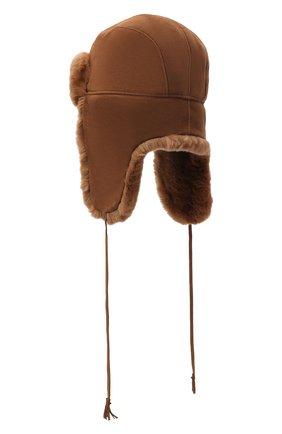 Детского шапка-ушанка с меховой отделкой IL TRENINO коричневого цвета, арт. 20 4075/E0 | Фото 2
