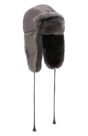 Детского шапка-ушанка с меховой отделкой IL TRENINO серого цвета, арт. 20 4075/E0 | Фото 1