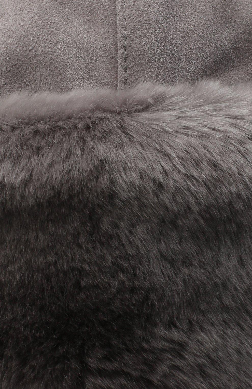 Детского шапка-ушанка с меховой отделкой IL TRENINO серого цвета, арт. 20 4075/E0 | Фото 3