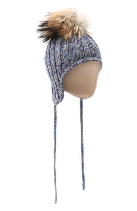 Детского шерстяная шапка с меховым помпоном IL TRENINO голубого цвета, арт. 20 7894/E0 | Фото 1
