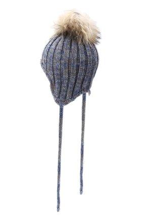Детского шерстяная шапка с меховым помпоном IL TRENINO голубого цвета, арт. 20 7894/E0 | Фото 2