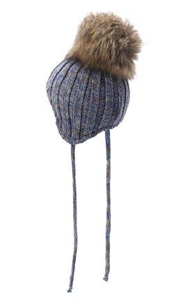 Детского шерстяная шапка с меховым помпоном IL TRENINO разноцветного цвета, арт. 20 7894/E2 | Фото 2