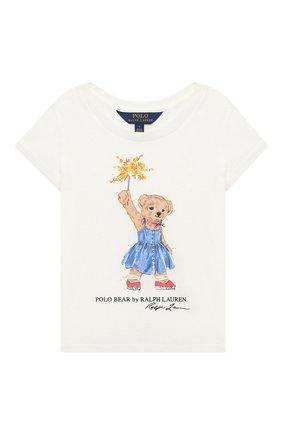 Детская хлопковая футболка POLO RALPH LAUREN белого цвета, арт. 312790444   Фото 1