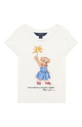Детская хлопковая футболка POLO RALPH LAUREN белого цвета, арт. 311790444 | Фото 1