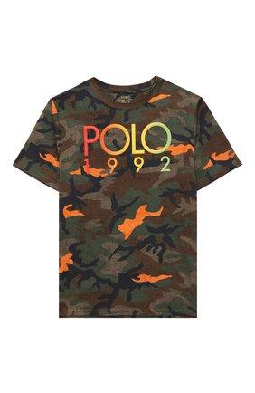 Детская хлопковая футболка POLO RALPH LAUREN хаки цвета, арт. 323803575 | Фото 1
