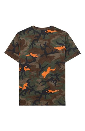 Детская хлопковая футболка POLO RALPH LAUREN хаки цвета, арт. 323803575 | Фото 2