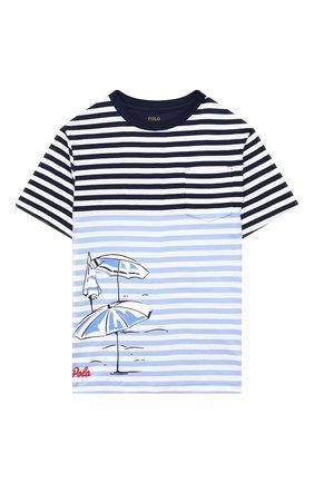 Детская хлопковая футболка POLO RALPH LAUREN голубого цвета, арт. 323786418 | Фото 1