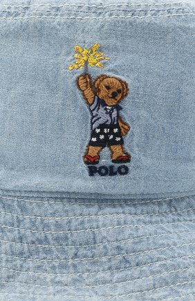 Детская хлопковая панама POLO RALPH LAUREN голубого цвета, арт. 322785670 | Фото 3