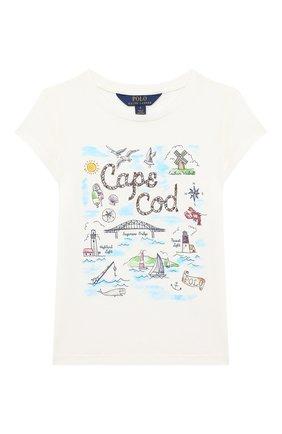 Детская хлопковая футболка POLO RALPH LAUREN белого цвета, арт. 312785449   Фото 1