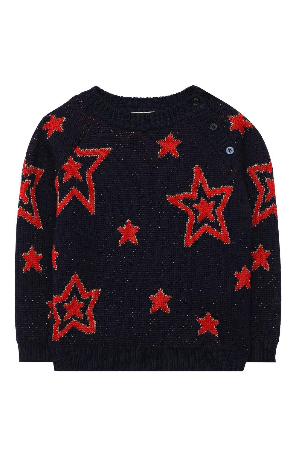 Детский шерстяной пуловер GUCCI темно-синего цвета, арт. 621873/XKBGX   Фото 1