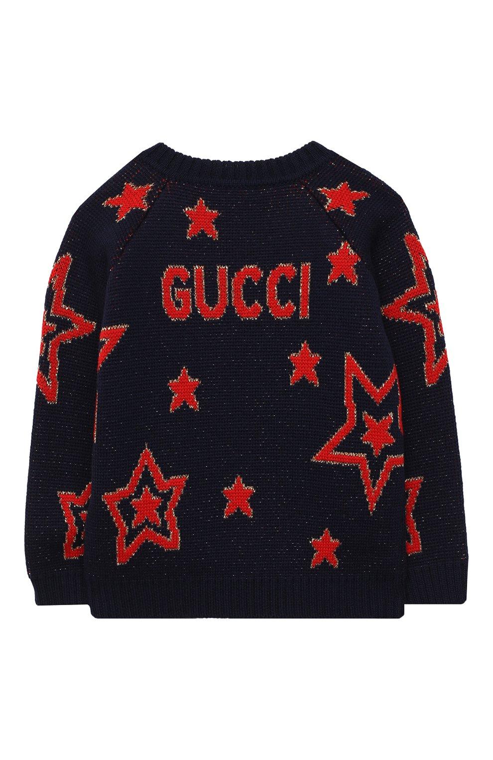 Детский шерстяной пуловер GUCCI темно-синего цвета, арт. 621873/XKBGX   Фото 2