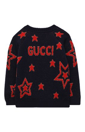 Детский шерстяной пуловер GUCCI темно-синего цвета, арт. 621873/XKBGX | Фото 2