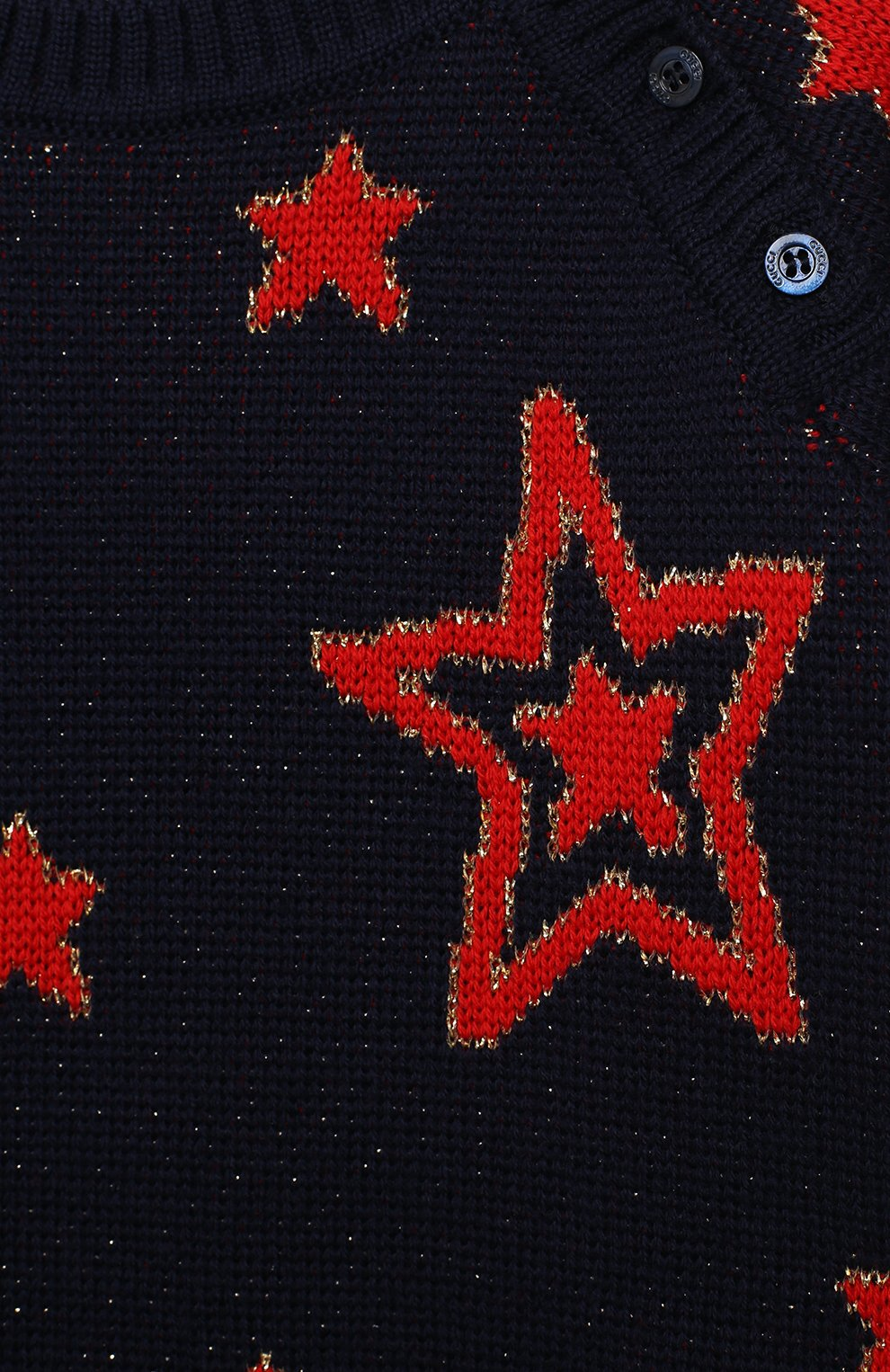 Детский шерстяной пуловер GUCCI темно-синего цвета, арт. 621873/XKBGX   Фото 3