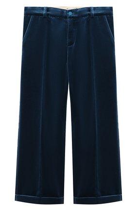 Детские бархатные брюки GUCCI голубого цвета, арт. 616363/XWAJ9 | Фото 1