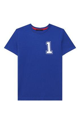 Детская хлопковая футболка MAKODAY синего цвета, арт. MA20T403/CoLy05 | Фото 1