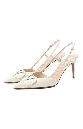 Женская кожаные туфли valentino garavani vlogo VALENTINO белого цвета, арт. UW2S0R01/TMK | Фото 1