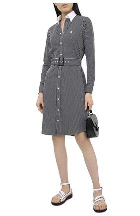Женское хлопковое платье POLO RALPH LAUREN черно-белого цвета, арт. 211800463 | Фото 2