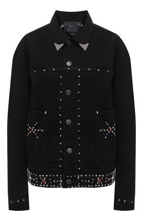 Женская джинсовая куртка POLO RALPH LAUREN черного цвета, арт. 211799678   Фото 1