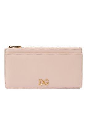 Женский кожаный футляр для кредитных карт DOLCE & GABBANA светло-розового цвета, арт. BI1265/AX121 | Фото 1