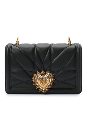 Женская сумка devotion mini DOLCE & GABBANA черного цвета, арт. BB6880/AV967   Фото 1 (Материал: Натуральная кожа; Сумки-технические: Сумки через плечо; Женское Кросс-КТ: Вечерняя сумка; Размер: mini; Ремень/цепочка: На ремешке)