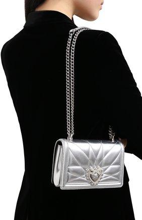 Женская сумка devotion mini DOLCE & GABBANA серебряного цвета, арт. BB6880/AK772   Фото 2 (Размер: mini; Ремень/цепочка: На ремешке; Материал: Натуральная кожа; Сумки-технические: Сумки через плечо; Женское Кросс-КТ: Вечерняя сумка)