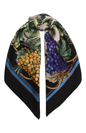 Женский шелковый платок DOLCE & GABBANA черного цвета, арт. FN090R/GDW03 | Фото 1
