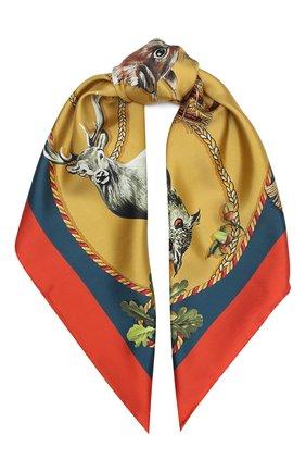 Женский шелковый платок DOLCE & GABBANA коричневого цвета, арт. FN090R/GDV96 | Фото 1