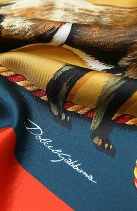 Женский шелковый платок DOLCE & GABBANA коричневого цвета, арт. FN090R/GDV96 | Фото 2